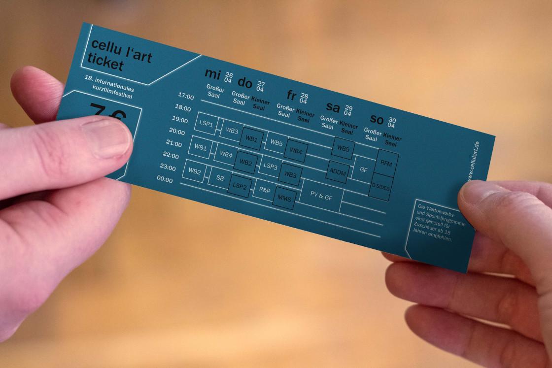 Eine Eintrittskarte zum Festival wird von einer Hand in die andere übergeben.