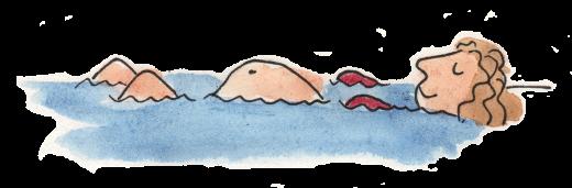 Zeichnung einer schwangeren Frau, die sich im warmen Wasser entspannt.