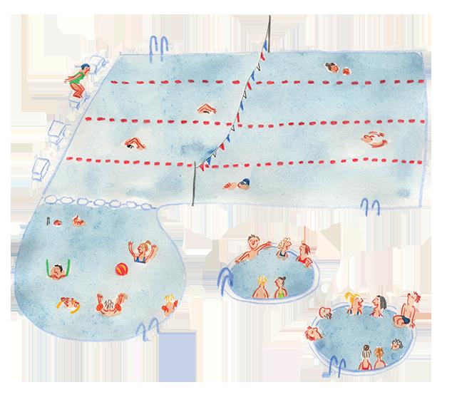 Zeichnung eines belebten Schwimmbeckens von oben.