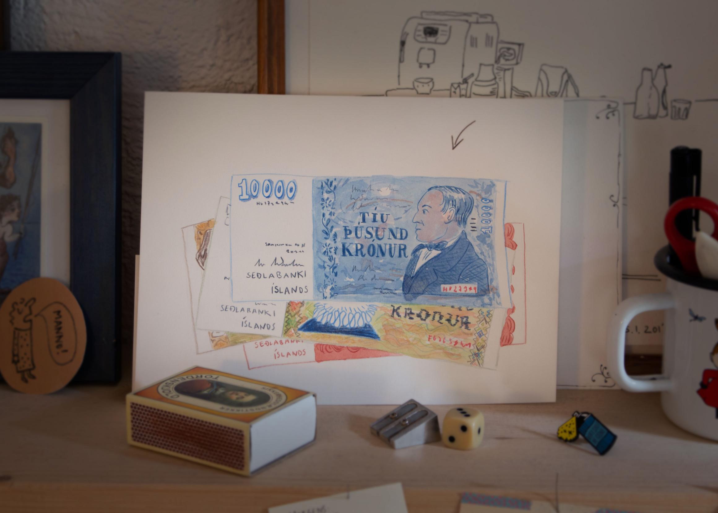 Zeichnung von einem Bündel Geldscheine, obenauf eine 10000-Kronen-Note.