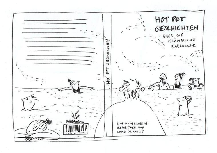 Schwarz-weiße Skizze als Titel-Entwurf.