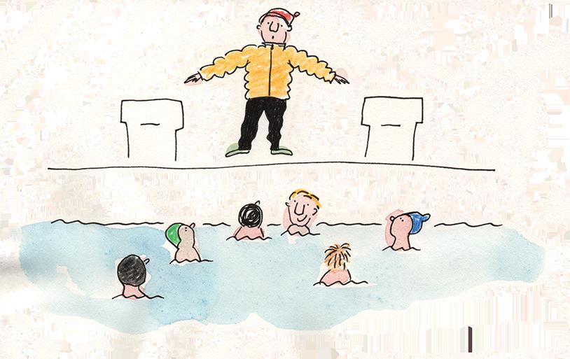 Zeichnung einer Szene aus dem Schwimmunterricht. Der Lehrer steht in einer gelben Daunenjacke am Beckenrand, im Wasser sind die Köpfe von sechs Kindern zu sehen.