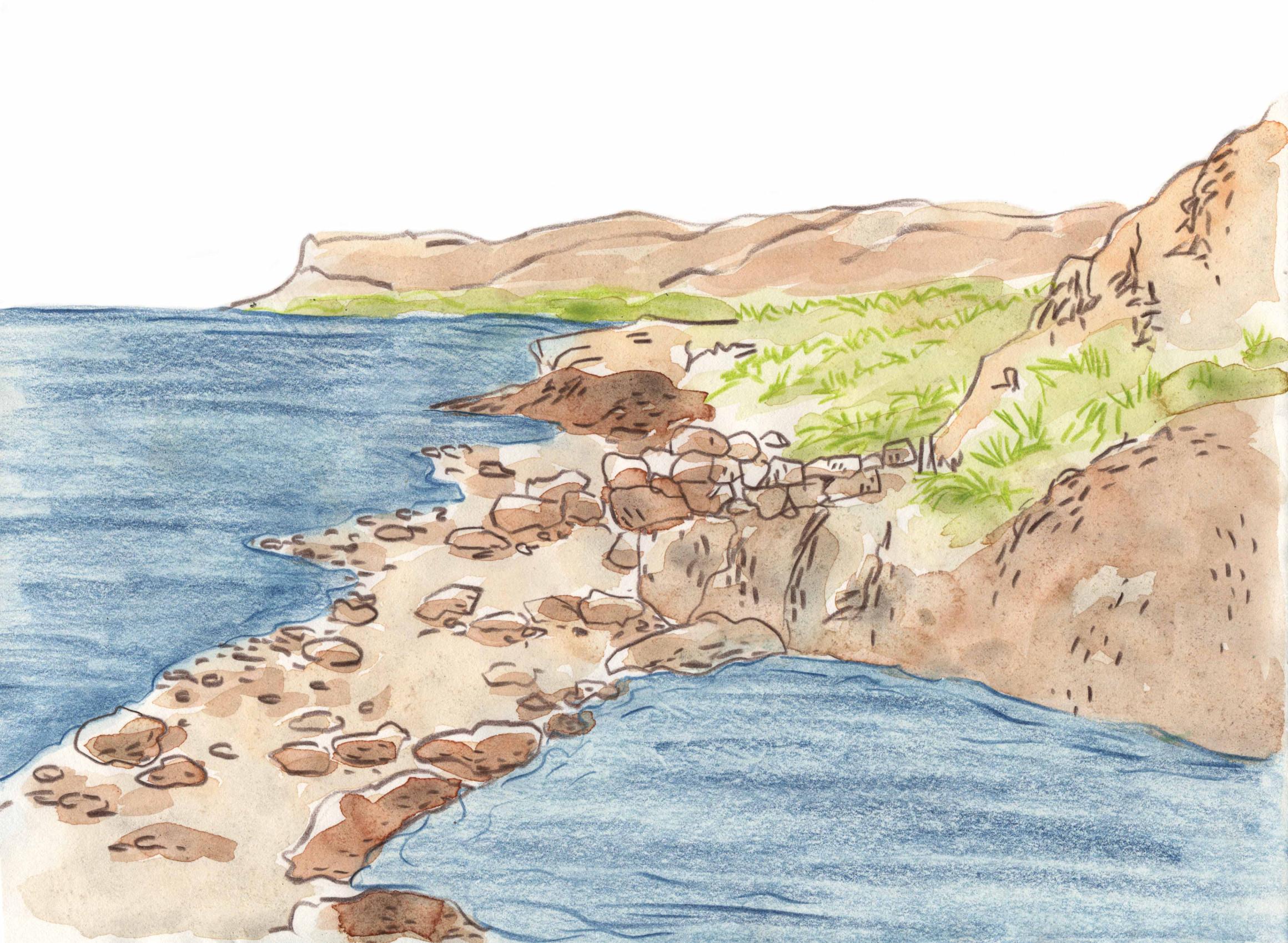 Zeichnung des Hot Pots direkt am Meeresufer in Flókalundur.