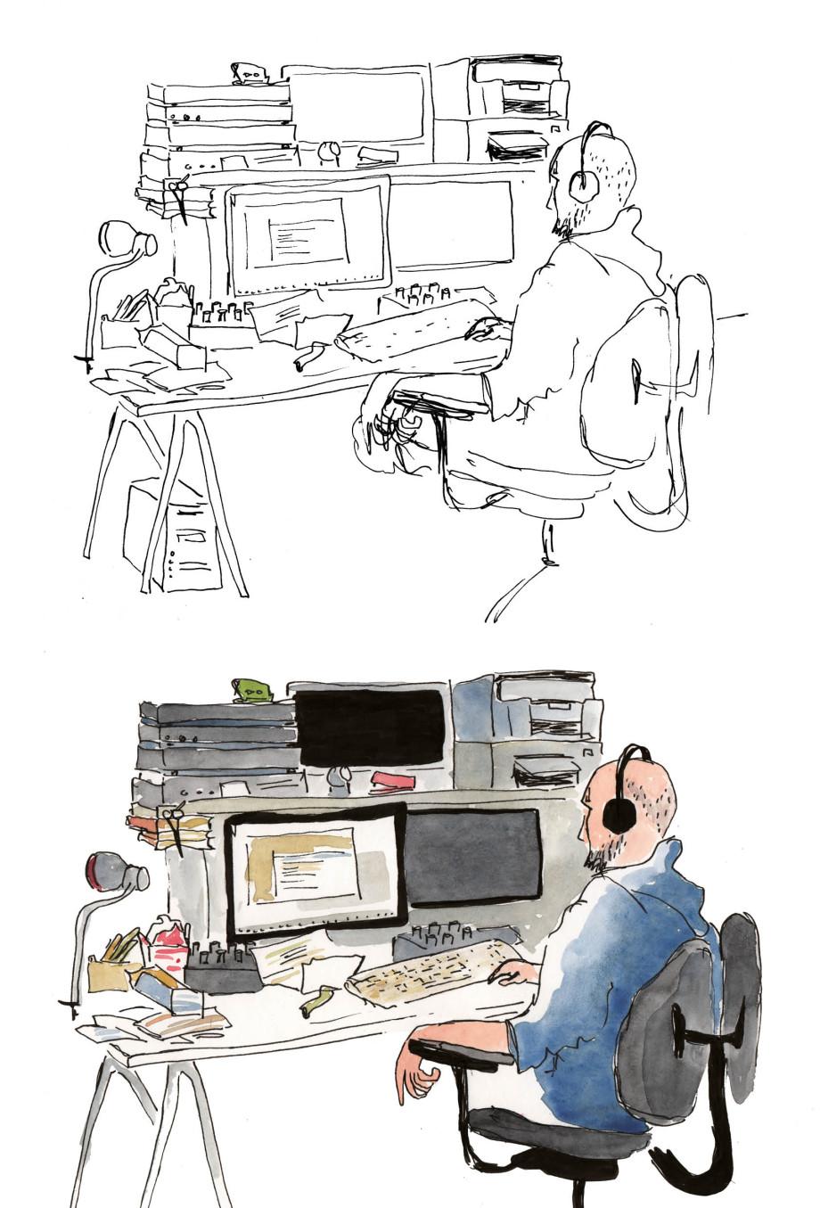 Zeichnung eines Interviewpartners an seinem Schreibtisch. Oben unkolorierte Skizze, unten farbige fertige Illustration.