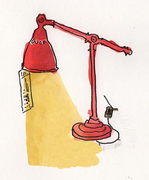 Zeichnung einer roten Tischlampe.