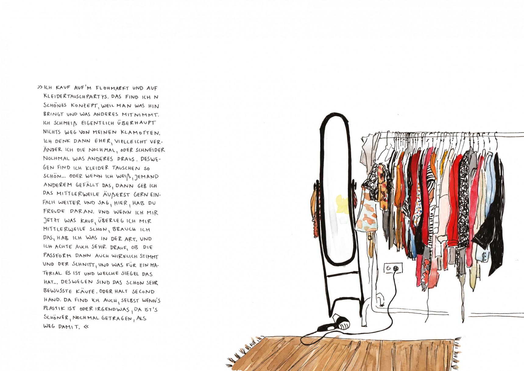 Zeichnung einer Kleiderstange mit einem großen Spiegel daneben.