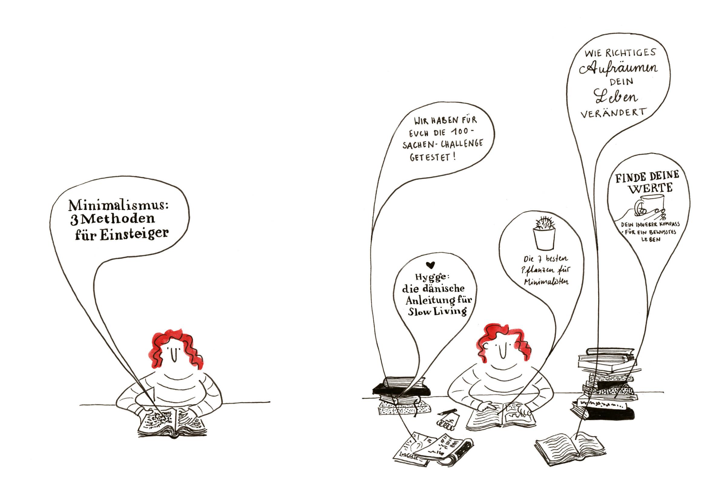 Zeichnung der Protagonistin bei der Minimalismus-Recherche in Büchern und Zeitschriften.