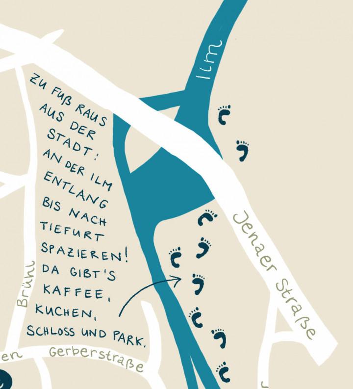 Detail des Stadtplans mit dem handgeschriebenen Tipp: Zu Fuß raus aus der Stadt: An der Ilm entlang bis nach Tiefurt spazieren! Da gibt's Kaffee, Kuchen, Schloss und Park.