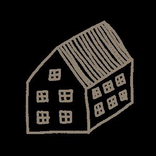 Strichzeichnung eines einfachen Hauses.