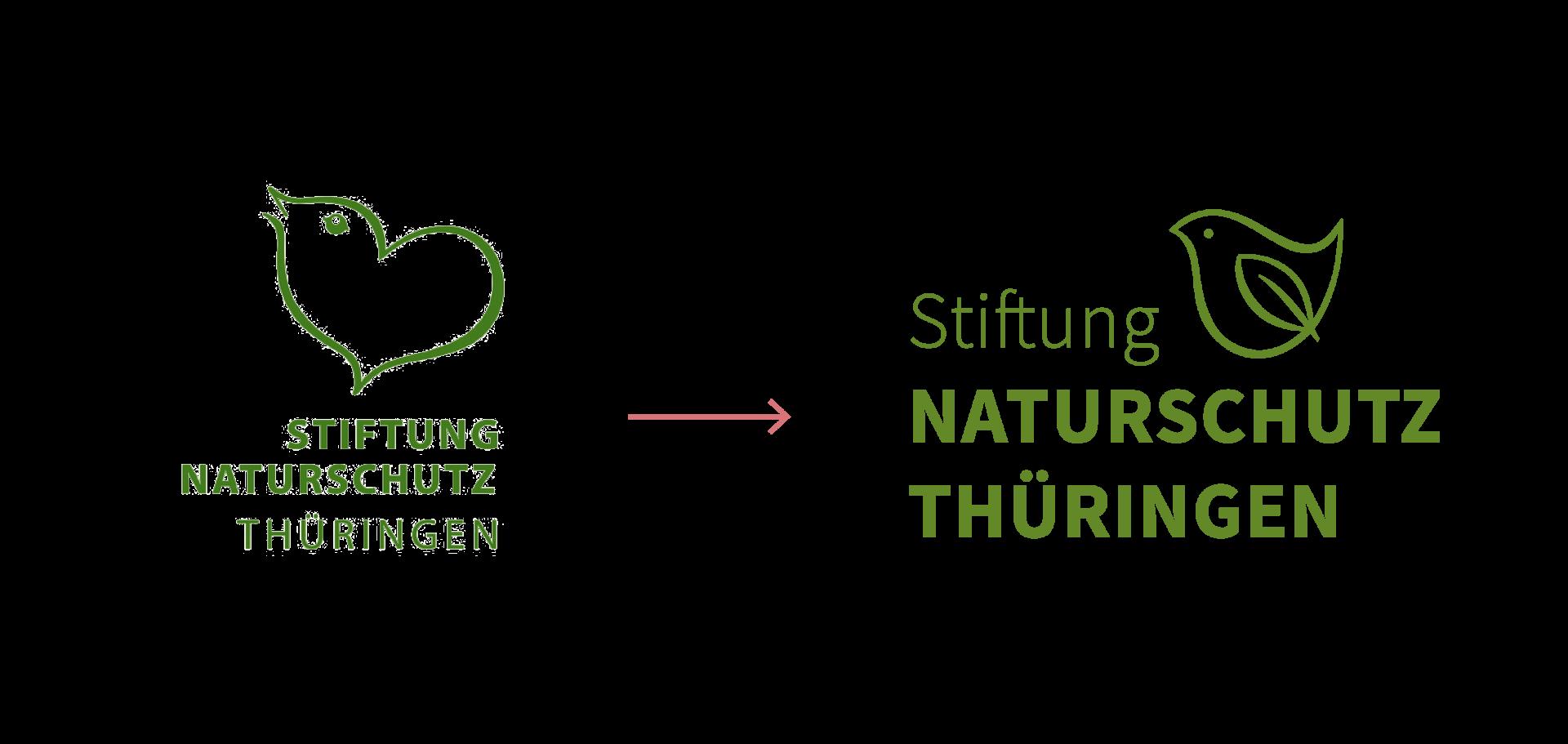 Links die alte, rechts die neue Wort-Bild-Marke der Stiftung Naturschutz Thüringen. Beide haben einen Vogel als Bildmarke.