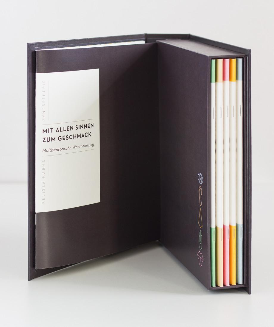 Der aufgeschlagene Buchschuber von innen. Die verschienenfarbigen Hefte stecken in dem Schuber.