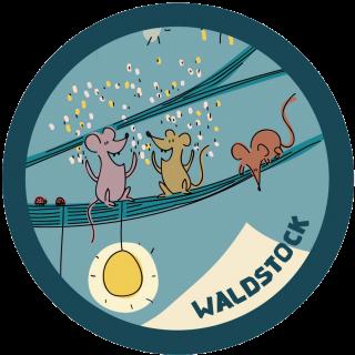 Aufkleber aus einem Detail des Plakates: drei Mäuse tanzen auf einem Ast und werfen Konfetti.