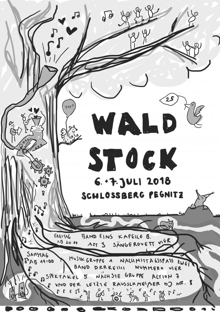 Schwarz-weiße Skizze des Plakats.